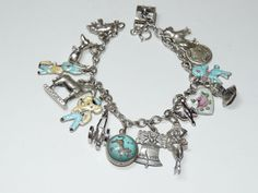 Vintage Sterling Silver Charm Bracelet WITH Enamel Childrens Animals 16pc NoRes
