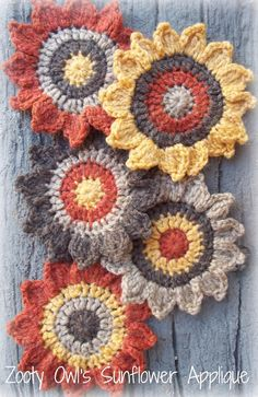 Crochet Sunflower Applique Pattern - free pattern link to Ravelry