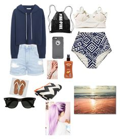 """""""Day at the beach"""" by sandra-payne-guadarrama on Polyvore featuring American Eagle Outfitters, Haremlique, Topshop, MANGO, OtterBox, Hawaiian Tropic and Ray-Ban"""