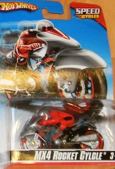 HOT WHEELS SPEED CYCLES MX4 ROCKET CYCLE SEALED ON BLISTER CARD by MATTEL. $9.89. HOT WHEELS. GREAT GIFT. SHIPS FAST. GREAT COLLECTIBLE. AGES 3+. HOT WHEELS SPEED CYCLE MOTORCYCLE. MX4 ROCKET CYCLE. GRAY MOTOR CYCLE WITH BLACK,BLUE AND RED DESIGN. GREAT COLLECTIBLE, AND GIFT