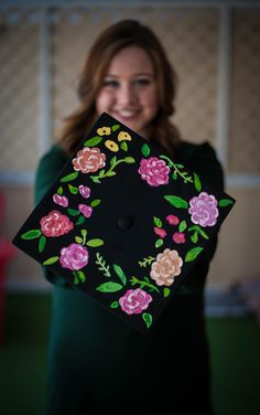 Floral painted graduation cap
