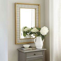 "Ligne Mirror, 36""x25.25""; $199 for over buffet, gray or cream one. *"