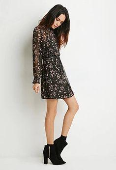 Floral Chiffon High-Neck Dress   LOVE21   #f21contemporary