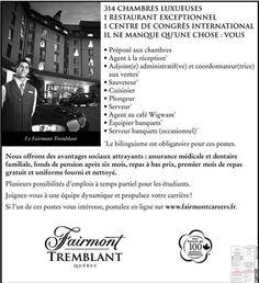 Plusieurs emplois au Fairmont Tremblant