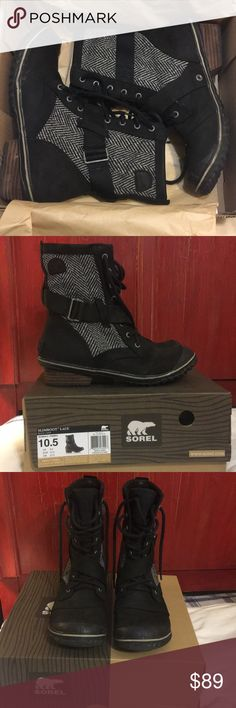 Sorel Slim Boot Lace Black leather Sorel slim boots with adorable herringbone pattern. Size 10.5 and Waterproof boots. Only worn 3 times, gently used. They didnt work for me. In original box! Price firm. Thanks for looking! Sorel Shoes Lace Up Boots