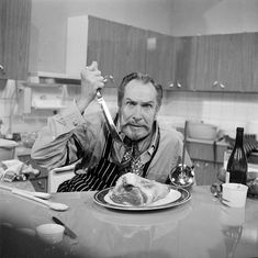 Vincent Price on the set of his cooking show Cooking Price-Wise 1971