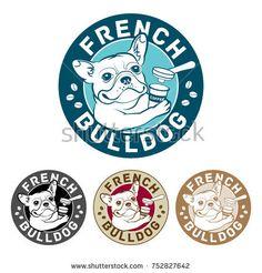 Bulldog frances -  illustration, round logo, multiple versions