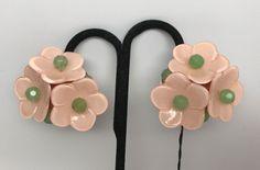 Gorgeous Angela Caputi Italian Designer Pink Flowers Lucite Clip on Earrings #AngelaCaputi #Clip