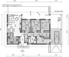 Rzut parteru projektu Eryk (z wiatą) Modern House Design, House Plans, Bungalow Ideas, Floor Plans, Cabin Ideas, How To Plan, Interior, House With Garage
