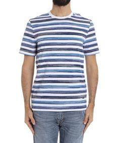 MISSONI MISSONI MEN'S  WHITE/BLUE COTTON T-SHIRT. #missoni #cloth #