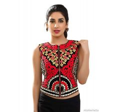 Multicolor velvet jacket / crop top with mirror and embroidery work