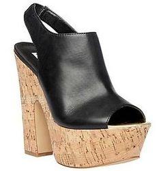 Steve Madden GEMMM Black Leather Design works No.1893 |Black Heels|