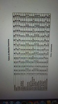 Tabela de medidas feminina Marlene Mukai