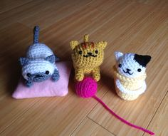 "tamigurumi: "" The newest addition to my amigurumi Neko Atsume cat collection–Fred :) Designed and crocheted by me. """