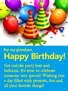 Vivid Balloon Happy Birthday Wishes Card For Grandson