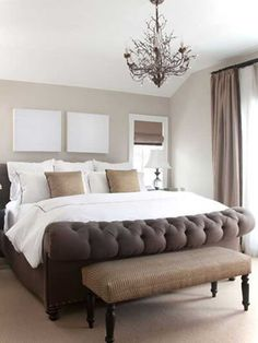 This elegant master bedroom has a simple yet effective palette of shades of browns ivory and white. The combination of crisp white linens subtle textures and tonal value creates a refined bedroom design. - June 29 2019 at Bedroom Inspirations, Home Bedroom, Elegant Master Bedroom, Bedroom Makeover, Bedroom Design, Luxurious Bedrooms, Bed, Bedroom Decor, Rustic Bedroom Design