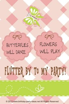 Flutter Away to a Butterfly Birthday Party 6th Birthday Parties, Baby First Birthday, Birthday Favors, Birthday Party Invitations, Birthday Ideas, Girl Birthday, Butterfly Birthday Party, Flower Birthday, First Birthdays