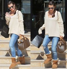 people wearing the brand-name UGG boots | Lea Michele with her hands full as she leaves Barneys New York in ...