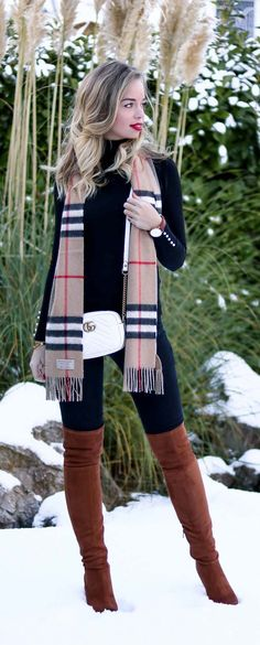 Winter Outfit with Burberry Scarf, white Gucci Marmont Mini Bag, Overknee Boots, OTK, Over the knee boots, Overknee Stiefel, brown Overknees, red Lipstick, snow, Outfit in the snow