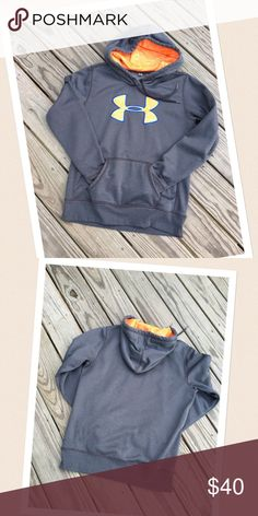 """NEW UNDER ARMOUR HOODIE Gray/bright orange hoodie with blue trim  Under Armour Storm  very comfy  slight """"fitted""""  excellent condition  no flaws  pet/smoke free home Under Armour Tops Sweatshirts & Hoodies"""