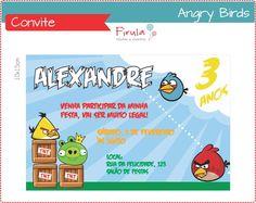 Angry Birds - O famoso joguinho do celular, direto para sua festa!    Convite digital personalizado, tamanho 10x15cm ou 9x13cm.  Versão para imprimir ou enviar por e-mail.