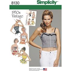 Simplicity Pattern 8130 Misses' 1950's Vintage Tops and Cropped Tops Sewing Patterns, White, Size D5