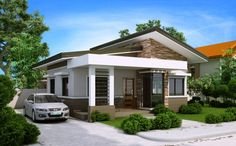 Elvira model is a small house plan with porch roofed by a concrete deck canopy and supported by two square columns.This house plan has an open garage that can accommodate 2 cars. Porch House Plans, Best House Plans, Small House Plans, Bungalow Haus Design, Modern Bungalow House, Backyard Canopy, Canopy Outdoor, Deck Canopy, Canopy Crib