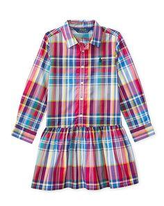 Plaid Poplin Shirtdress - Girls 2-6X Dresses - RalphLauren.com