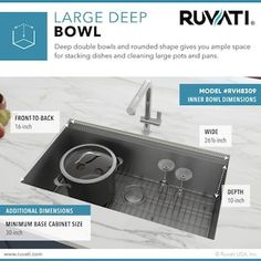 Ruvati Roma 28-in x 19-in Brushed Stainless Steel Single Bowl Undermount Residential Workstation Kitchen Sink in the Kitchen Sinks department at Lowes.com Stainless Steel Kitchen, Brushed Stainless Steel, Bowls, Drain Cover, Base Cabinets, Wooden Handles, Kitchen Sinks, Kitchen Appliances, Water Well