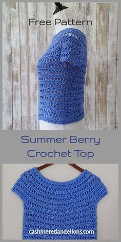 A free crochet pattern for a top that is crocheted in the round, from the top down, with no seams! The pattern I'm bringing to you today is the Summer Berry Crochet Top. It is crocheted in the round, from the top down, with no seams! Crochet Tank Tops, Crochet T Shirts, Crochet Summer Tops, Crochet Clothes, Crochet Sweaters, Gilet Crochet, Crochet Jacket, Crochet Blouse, Crochet Vests