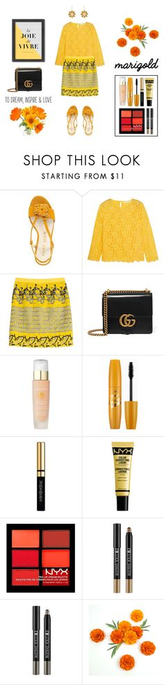 """""""Stay Golden: Dressing in Marigold"""" by ready2wear ❤ liked on Polyvore featuring Anne Klein, Diane Von Furstenberg, Etro, Gucci, Lancôme, Yves Saint Laurent, NYX, Charlotte Russe, Americanflat and marigold"""
