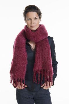 Kid mohair scarf fashion, 35x160cm, wine