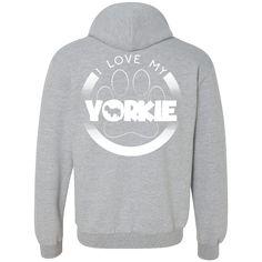 I LOVE MY YORKIE (Paw Design) - Back Design -  Heavyweight Pullover Fleece Sweatshirt