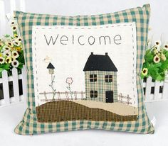 Green Grid Welcome Home Patchwork Cushion Cover, Housewarming Cushion Case, Handmade Patchwork Pillow Case, Decorative Sofa Pillow Case. $19.00, via Etsy.