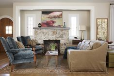 Comfortable traditional living room with stone fireplace  Living  Family Room  American  Cottage  TraditionalNeoclassical by Sarah Stacey Interior Design
