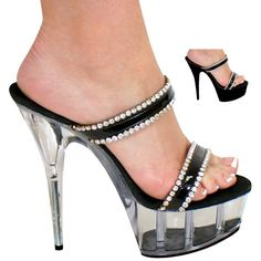 "5"", 6"", 7"" or 8"" Karo's Rhinestone Trim Black Patent Strap Sandal Designer Shoes on a Clear High Heel Platform - Sizes 5-14. #0303 