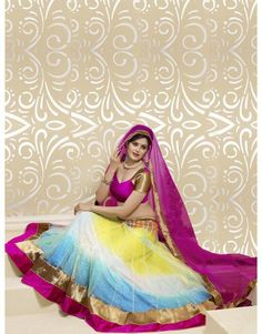 Multi Color Net Lehenga Choli with Zari Work