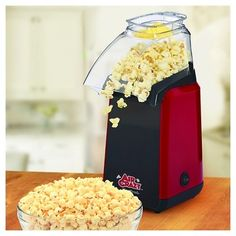 West Bend 82421 Air Crazy Mini Popcorn Machine, Black and Red for sale online Hot Air Popcorn Popper, Air Popcorn Maker, Air Popper, Healthy Popcorn, Best Popcorn, Healthy Treats, West Bend, Make A Family, Party Items