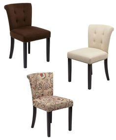 ON SALE Avenue Six 3 Fabrics Colors Tufted Back Accent Dining Chair w/Wood Legs -