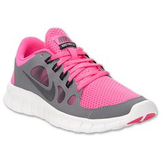 Girls' Grade School Nike Free Run 5 Running Shoes | FinishLine.com | Cool Grey/Pink Foil/White/Black