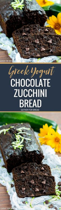 Greek Yogurt Chocolate Zucchini Bread - Healthy and delicious this simple chocolate zucchini bread is made with Greek yogurt and honey. It has less sugar, is better for you and tastes great! Summer time favorite.