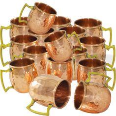 Amazon.com | DakshCraft ® Pure Copper Solid Shot Hammered Mugs, Set of 16: Beer Mugs & Steins