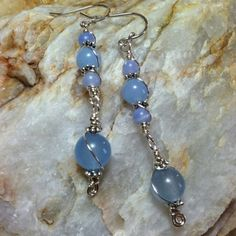 ♡Use Coupon Code: GEMHEALING10 for 10% off your $20 order! Reiki infused healing gemstone jewelry. Check out my shop for over 40 pieces like these Aquamarine Blue Lace Agate Earrings with Sterling Silver hooks.♡