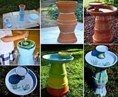 Terracotta Clay Pot Bird Bath