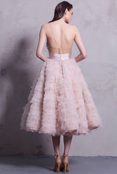 Wedding Hairstyles Inspiration : Calypso from Maria Lucia Hohan wedding dresses 2016 -Ballerina inspired dress with tulle ruffles on the skirt and bow detail on the bodice. The midi length and dust… 2016 Wedding Dresses, Designer Wedding Dresses, Dresses 2016, Bridesmaid Dresses, Prom Dresses, Dress Wedding, Bridesmaids, Iris Van Herpen, Georges Hobeika