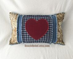 Heart bolster pillow cover grunge rag style batik with red