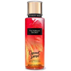 Victoria's Secret Coconut Sunset Fragrance Mist (237.465 IDR) ❤ liked on Polyvore featuring beauty products, fragrance, orange, perfume and spray perfume