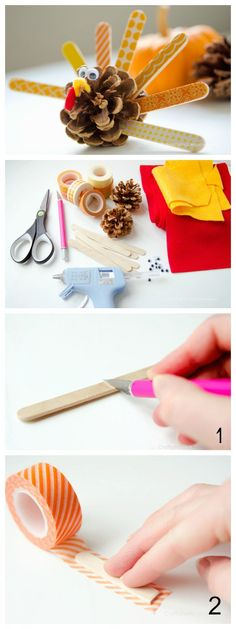 DIY Pinecone Turkey tutorial || Makes a great Thanksgiving Day craft idea!