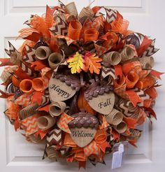 The Chic Technique: Fall Mesh Wreath,Fall Burlap Wreath,Fall Door Wreath,Happy Fall Wreath,Welcome. Fall Mesh Wreaths, Fall Deco Mesh, Autumn Wreaths, Deco Mesh Wreaths, Holiday Wreaths, Wreath Fall, Acorn Wreath, Halloween Wreaths, Wreath Crafts