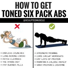 """HOW TO GET TONED SIX PACK ABS? If you're trying to get toned six pack abs this summer, then the self-proclaimed """"fitness gurus"""" will tell you to do endless crunches, long boring cardio sessions, detox cleanses, fat burner pills, and of course, cut all carbs. The problem is that these techniques simply aren't sustainable for most people. What's even worse is that they don't work. Here's what does work when it comes to trimming your waistline and building toned muscle:"""